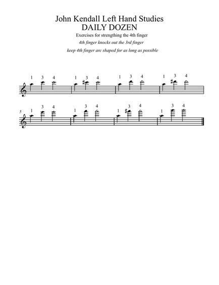 John Kendall Daily Dozen (free download available at www.MusicforYoungViolinists.com) #ViolinPedagogy, #FreeViolinMusic, #Violin, #ViolinTeaching, #ViolinPractice, #SuzukiViolin, #Shifting