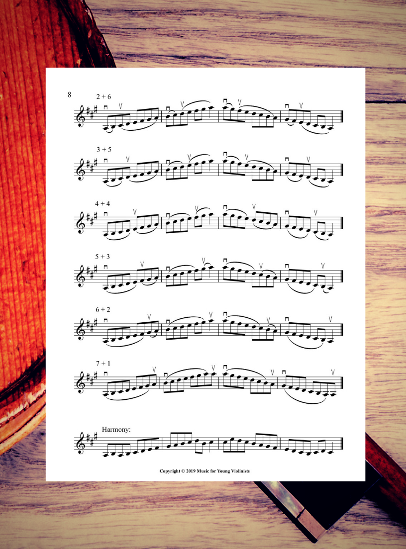 A Major Scale Sheet for Violin