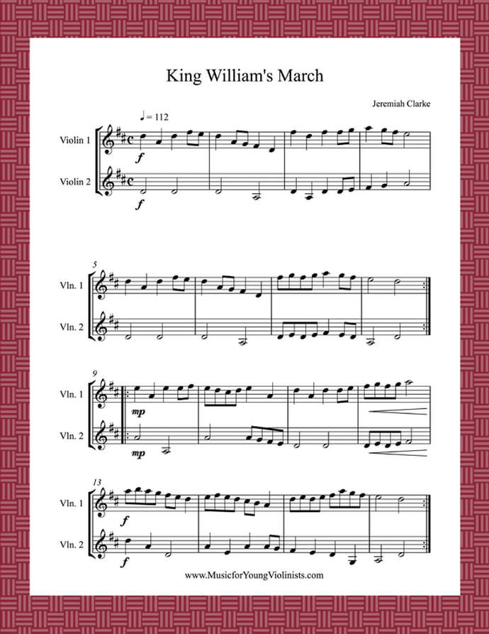 Kings March Violin Duet